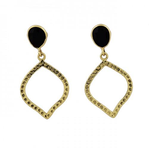 Black Onyx Oval Shape Gemstone 925 Sterling Silver Gold Plated Stud Earrings