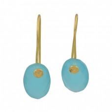Oval Shape Aqua Chalcedony Gemstone 925 Sterling Silver Gold Plated Earrings