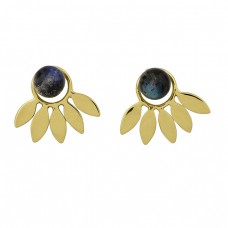 925 Sterling Silver Labradorite Gemstone Gold Plated Handmade Stud Earrings