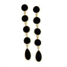 925 Sterling Silver Black Onyx Gemstone Gold Plated Dangle Stud Earrings