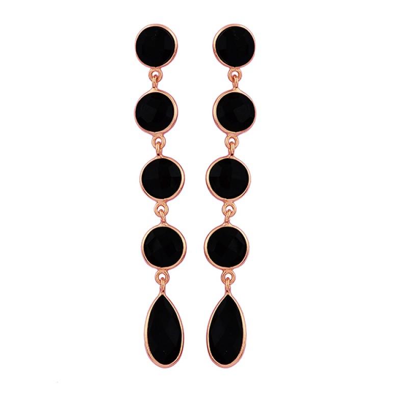 925 Sterling Silver Black Onyx Gemstone Gold Plated Dangle Stud Earrings