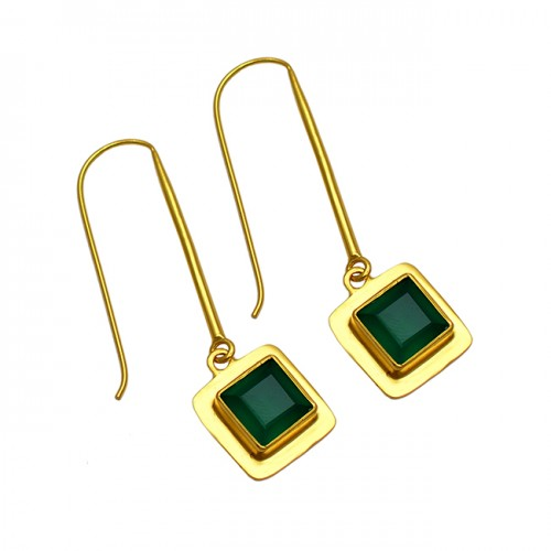 Square Shape Green Onyx Gemstone 925 Sterling Silver Gold Plated Dangle Earrings