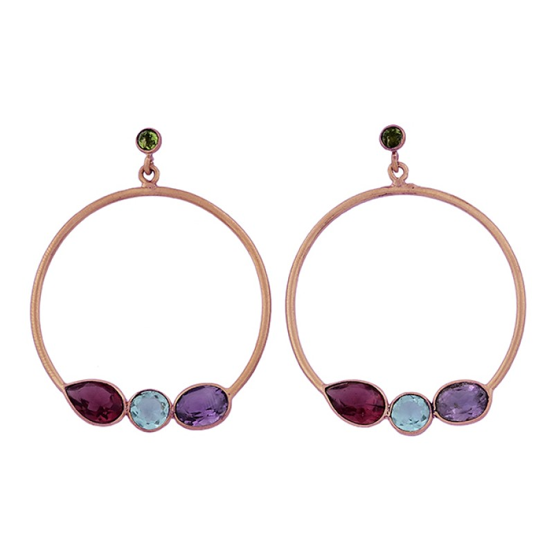 Tourmaline Topaz Amethyst Peridot Gemstone 925 Silver Gold Plated Earrings