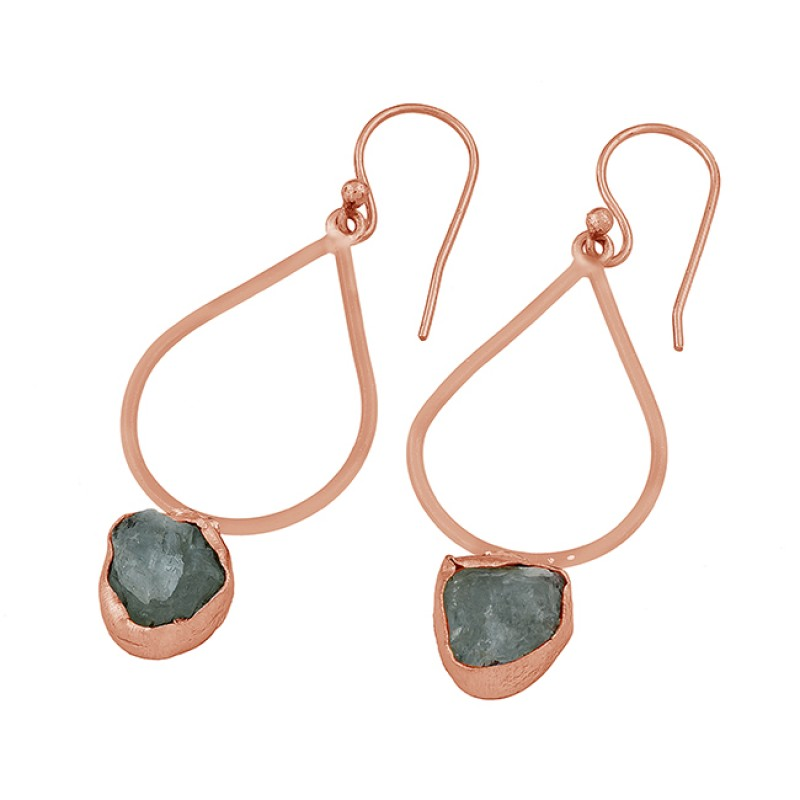 Aqua Chalcedony Rough Gemstone 925 Sterling Silver Gold Plated Dangle Earrings