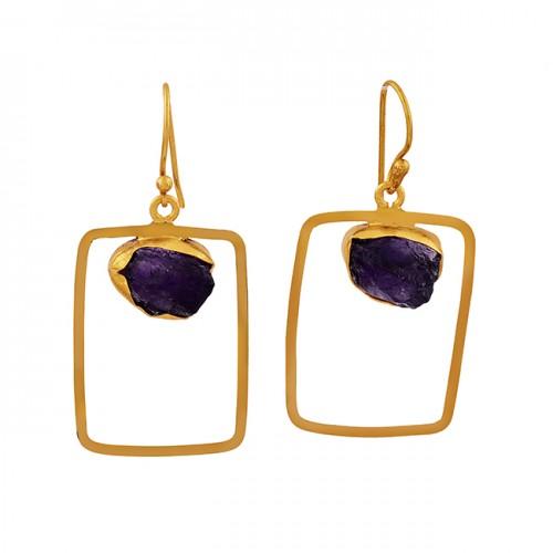 Amethyst Rough Gemstone 925 Sterling Silver Gold Plated Dangle Earrings
