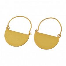 925 Sterling Silver Plain Designer Gold Plated Hoop Dangle Earrings