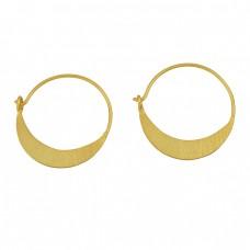 Handmade Designer Plain 925 Sterling Silver Gold Plated Hoop Dangle Earrings