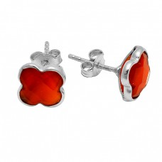 Briolette Carved Flower Carnelian Gemstone 925  Sterling Silver Gold Plated Stud Earrings