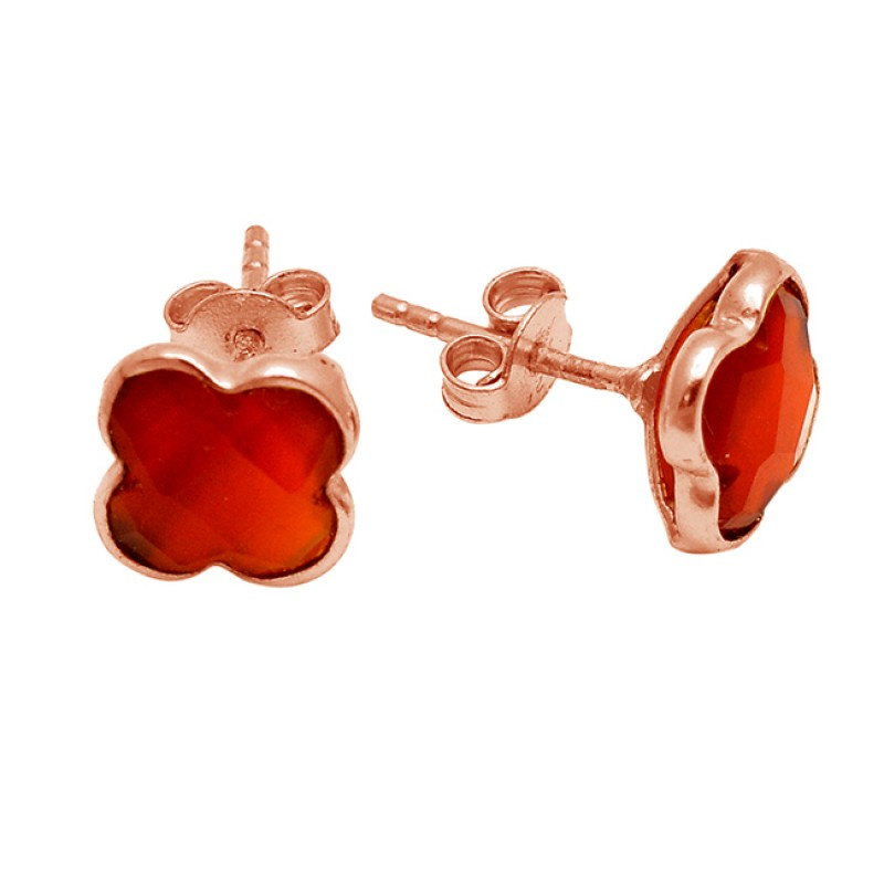 Briolette Carved Flower Carnelian Gemstone 925  Sterling Silver Gold Plated Stud Earrings
