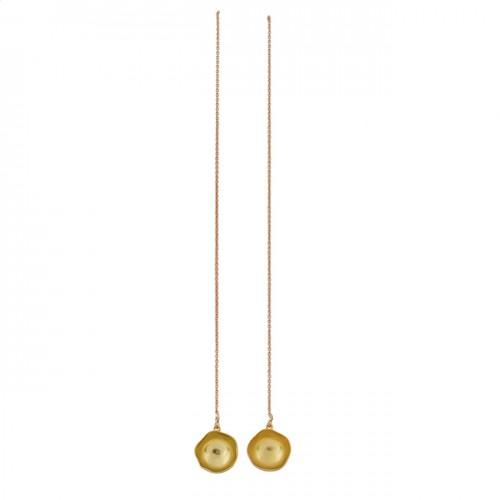 925 Sterling Silver Plain Designer Gold Plated Chain Dangle Earrings