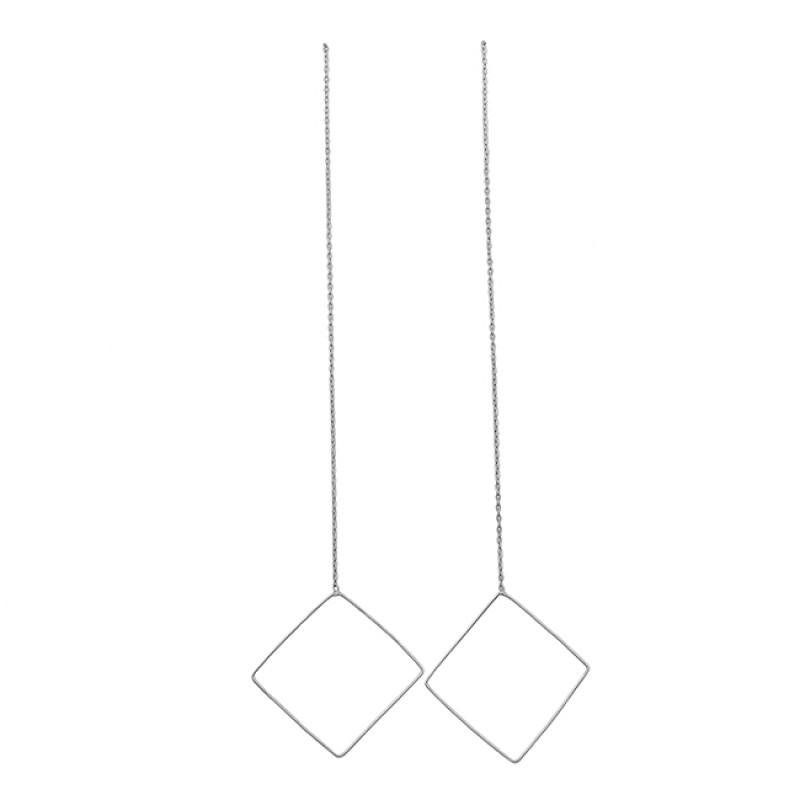 Plain Handmade Designer 925 Sterling Silver Gold Plated Chain Dangle Earrings