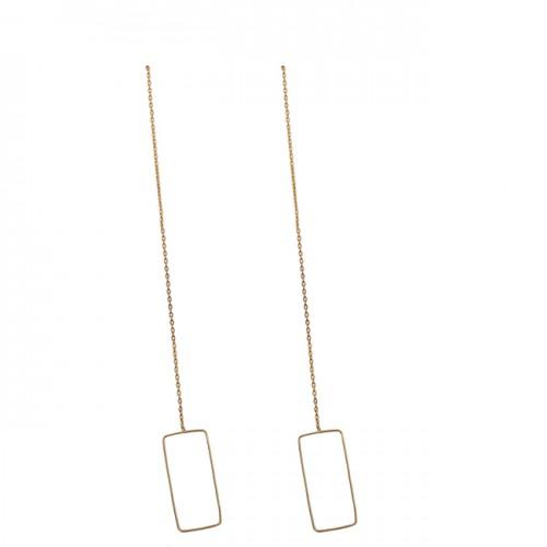 925 Sterling Silver Plain Handmade Gold Plated Chain Dangle Earrings