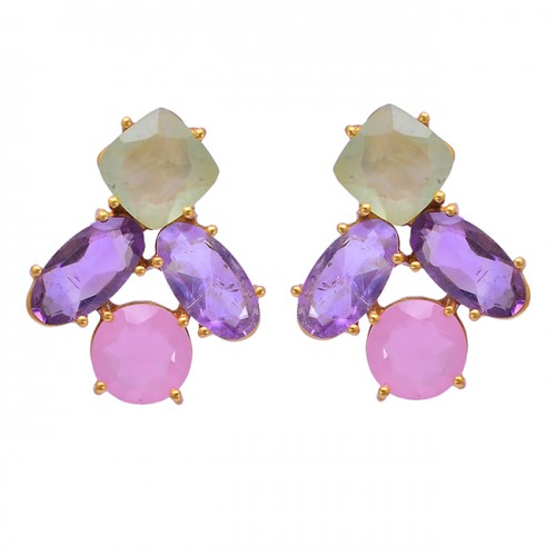 Prong Setting Chalcedony Amethyst Gemstone 925 Sterling Silver Gold Plated Earrings