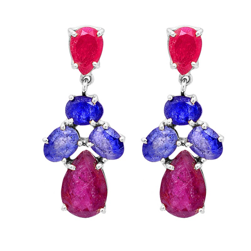 925 Sterling Silver Ruby Sapphire Gemstone Gold Plated Stud Dangle Earrings