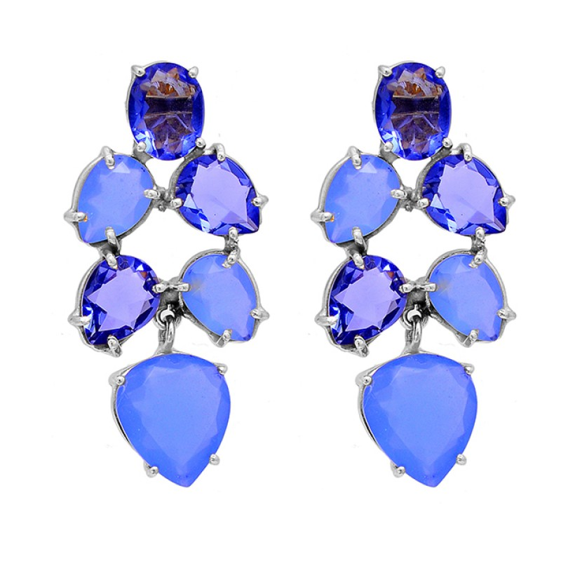 Tanzanite Quartz Blue Chalcedony Gemstone 925 Sterling Silver Gold Plated Earrings