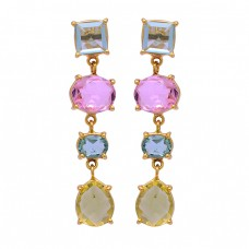 Topaz Pink Quartz Citrine Gemstone 925 Sterling Silver Gold Plated Stud Earrings