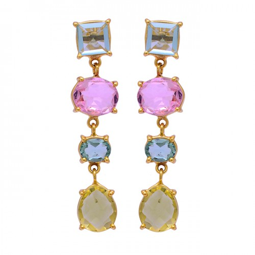 Topaz Pink Quartz Citrine Gemstone 925 Sterling Silver Gold Plated Stud Earrings