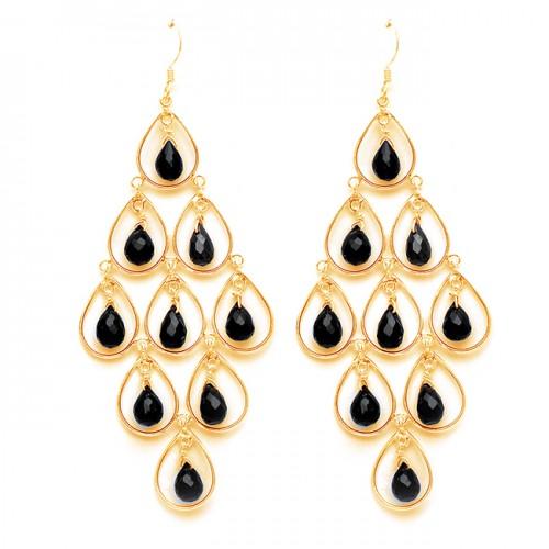 Pear Drops Shape Black Onyx Gemstone 925 Sterling Silver Dangle Earrings