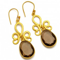 925 Sterling Silver Oval Shape Smoky Quartz Gemstone Gold Plated Dangle Earrings