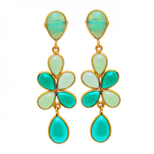 Moonstone Prehnite Chalcedony Gemstone 925 Sterling Silver Gold Plated Earrings