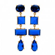 Tanzanite Blue Quartz Gemstone 925 Sterling Silver Gold Plated Stud Earrings