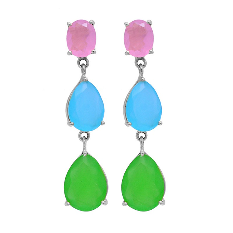 Rose Aqua Prehnite Color Chalcedony Gemstone 925 Silver Gold Plated Earrings