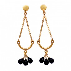 Pear Drops Black Onyx Gemstone 925 Sterling Silver Gold Plated Stud Earrings