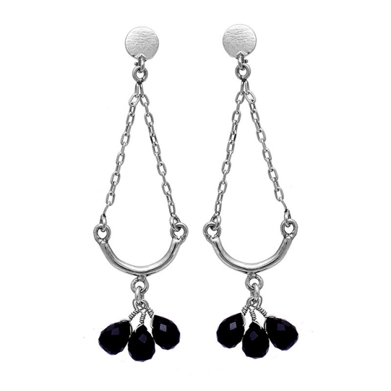 Pear Drops Black Onyx Gemstone 925 Sterling Silver Gold Plated Stud Earrings