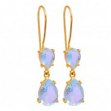 Blue Topaz Pear Shape Gemstone 925 Sterling Silver Gold Plated Earrings