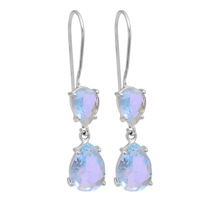 Blue Topaz Pear Shape Gemstone 925 Sterling Silver Gold Plated Earrings