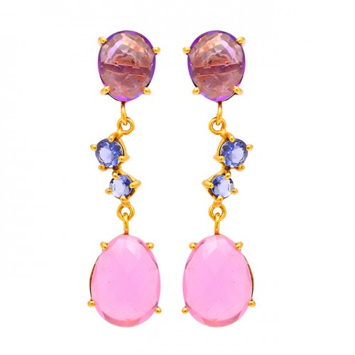 Amethyst Tanzanite Chalcedony Gemstone 925 Silver Gold Plated Stud Earrigns