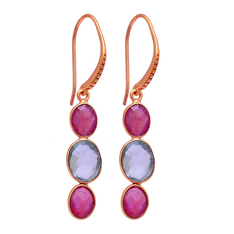 Ruby Blue Topaz Gemstone 925 Sterling Silver Gold Plated Dangle Earrings