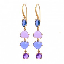 Amethyst Tanzanite Quartz Chalcedony Gemstone 925 Silver Gold Plated Earrings