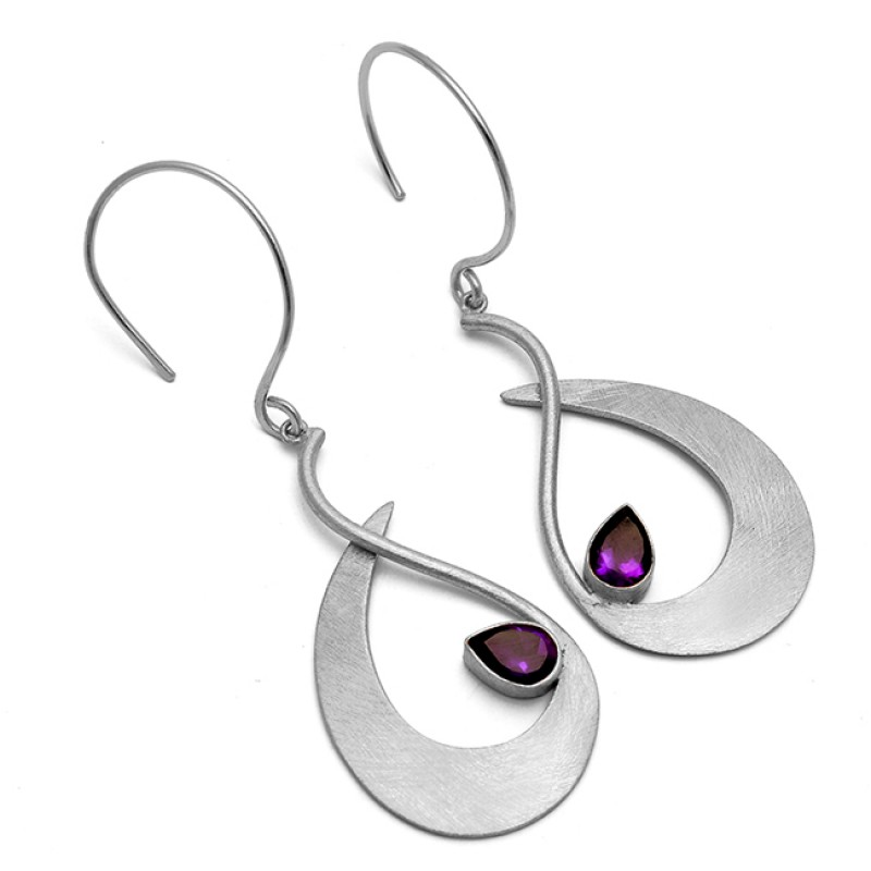925 Sterling Silver Purple Amethyst Gemstone Gold Plated Handcrafted Dangle Earrings