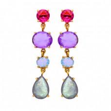 Labradorite Amethyst Moonstone Torumaline Gemstone Gold Plated Earrings