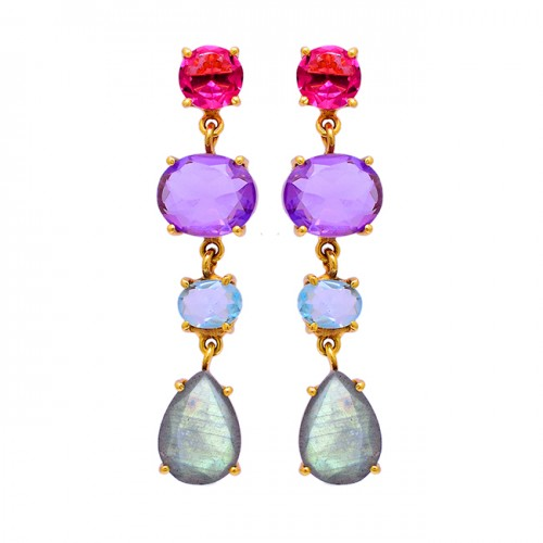 Labradorite Amethyst Moonstone Torumaline Gemstone Gold Plated Earrings