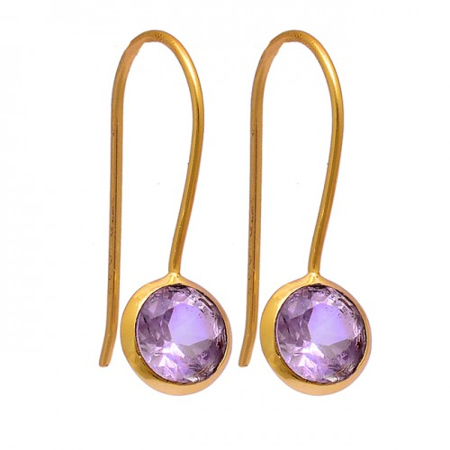 Round Shape Amethyst Gemstone 925 Sterling Silver Gold Plated Fixed Ear Wire Earrings