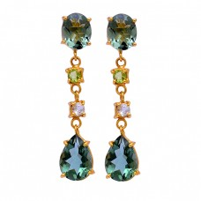Green Amethyst Peridot Crystal Gemstone 925 Silver Gold Plated Stud Earrings