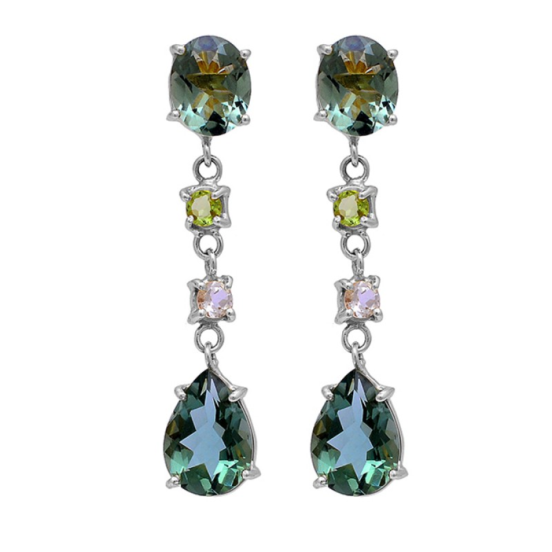 Green Amethyst Peridot Crystal Gemstone 925 Silver Gold Plated Stud Earrings