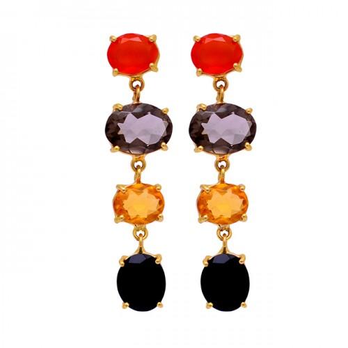 Carnelian Smoky Quartz Citrine Onyx Gemstone Gold Plated Stud Dangle Earrings