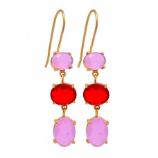 Rose Chalcedony Tourmaline Quartz Gemstone 925 Silver Gold Plated Earrings