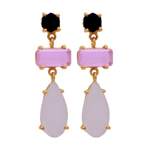925 Sterling Silver Chalcedony Quartz Gemstone Gold Plated Stud Dangle Earrings