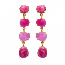 925 Sterling Silver Oval Shape Ruby Gemstone Gold Plated Stud Dangle Earrings