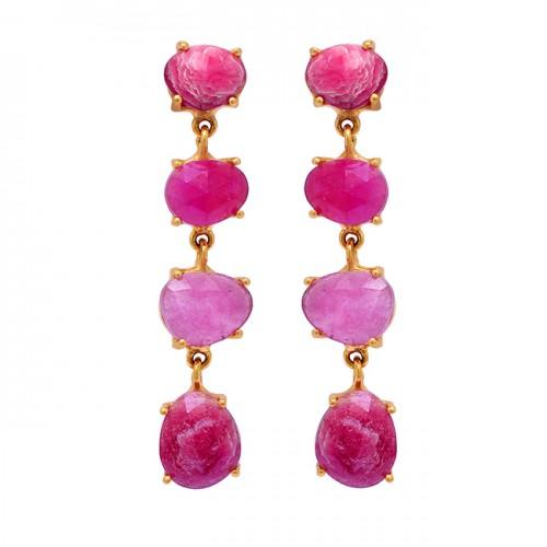 925 Sterling Silver Oval Shape Ruby Gemstone Gold Plated Stud Dangle Earrings