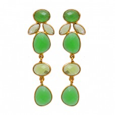Peridot Chalcedony Gemstone 925 Sterling Silver Gold Plated Stud Earrings