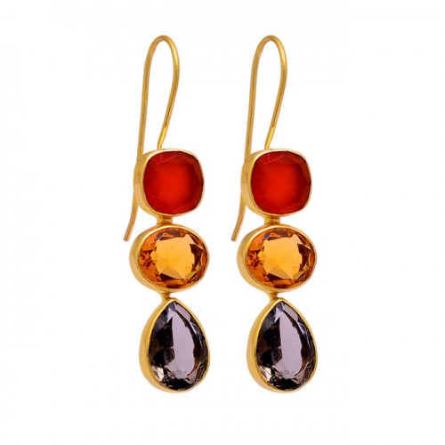 Carnelian Citrine Smoky Quartz Gemstone 925 Sterling Silver Gold Plated Earrings