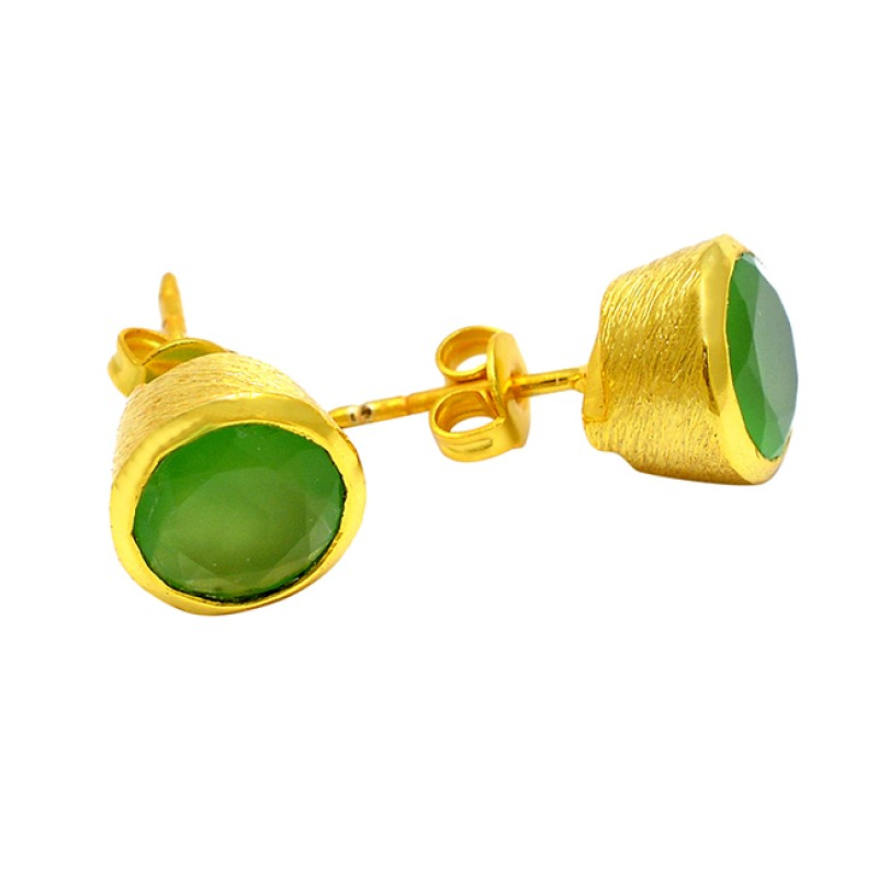 Round Cut Prehnite Chalcedony Gemstone 925 Sterling Silver Gold Plated Stud Earrings
