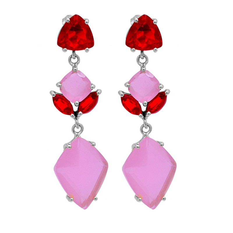 925 Sterling Silver Ruby Quartz Chalcedony Gemstone Gold Plated Stud Earrings