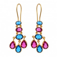 925 Sterling Silver Tanzanite Tourmaline Quartz Gemstone Gold Plated Earrings
