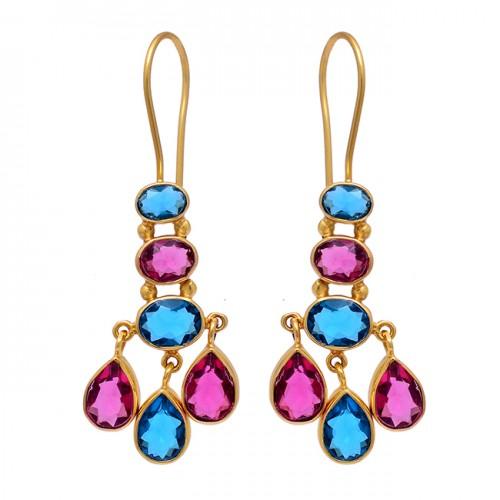 925 Sterling Silver Tanzanite Tourmaline Quartz Gemstone Gold Plated Earrings